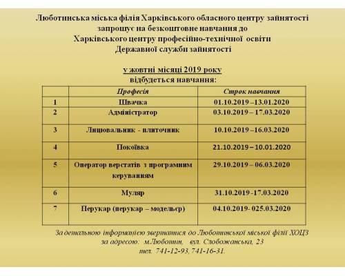 Люботинський міський центр зайнятості інформує: